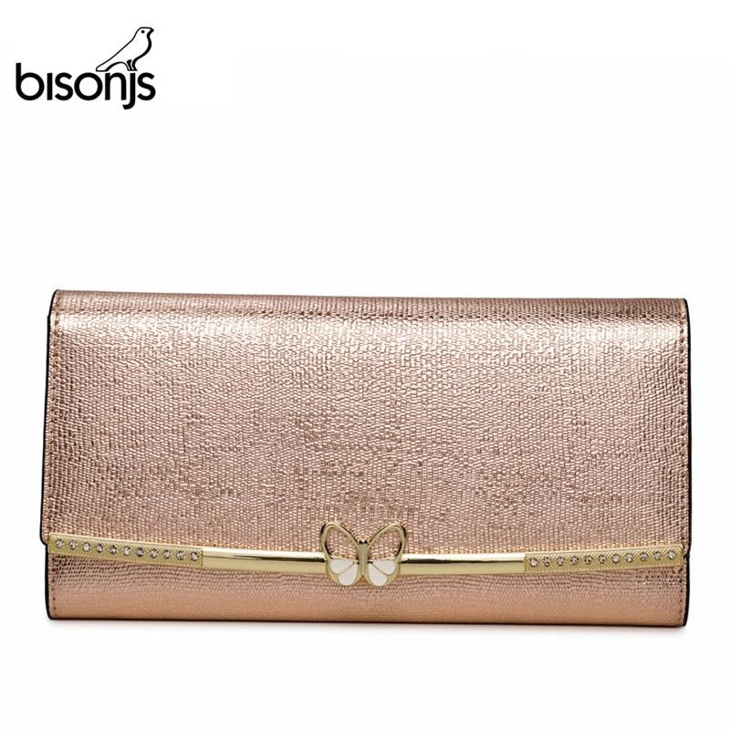 BISONJS Genuine Leather Purse Female Luxry Brand Women Wallets Long Zipper Long Clutch Card Holder Coin Purse B3272