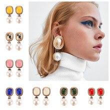 8 colores Vintage perla simulada pendientes grandes statement mujeres boda fiesta pendientes de gota México joyería de regalo amor Navidad
