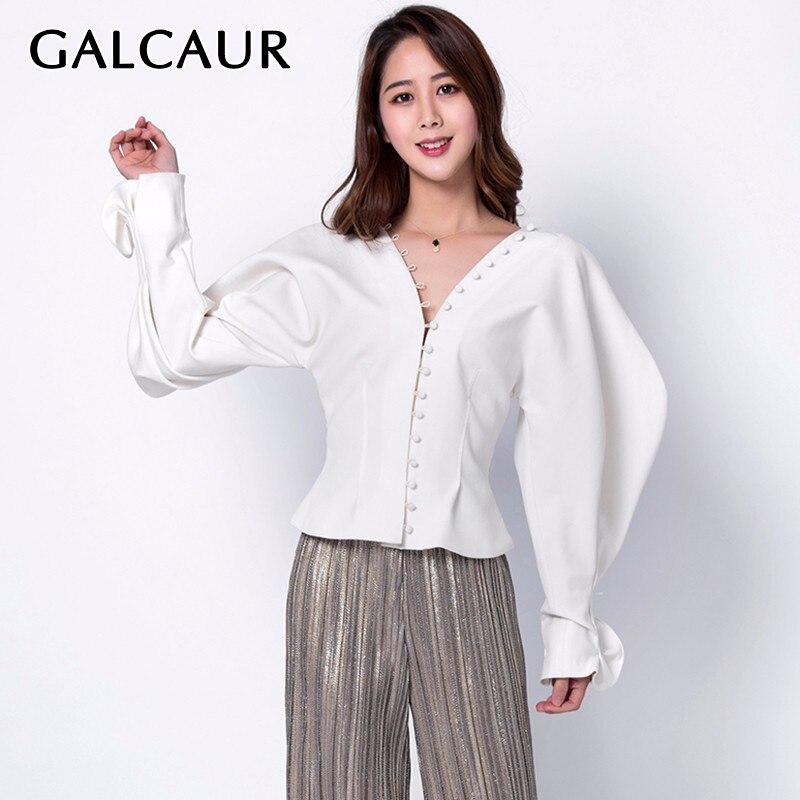 GALCAUR coréen blanc col en V chemises pour femmes lanterne à manches longues à volants chemise Blouse femme 2019 automne mode nouveaux vêtements