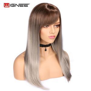 Image 2 - Wignee wysokiej temperatury włókna peruki syntetyczne proste dla kobiet średni rozmiar średni brąz kobiety peruka z grzywką peruki z naturalnych włosów
