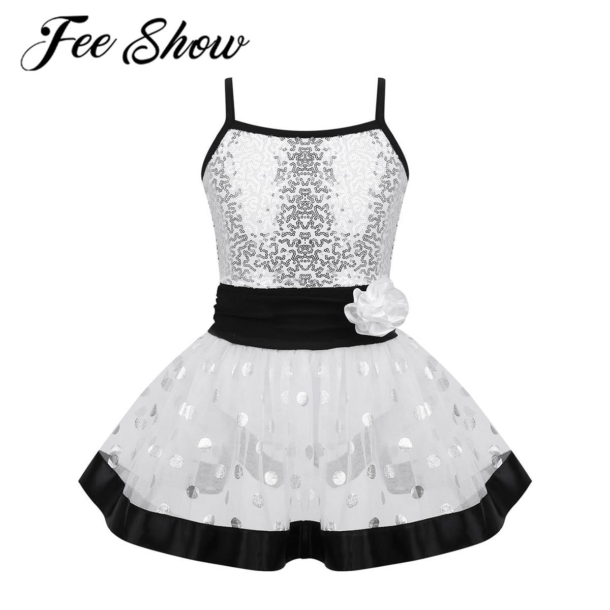 Kids Girls Glitter Shiny White Black Skirt Child Ballet Dance Gymnastics Leotard Tutu Skirts Ballerina Costume Dress For Dancing