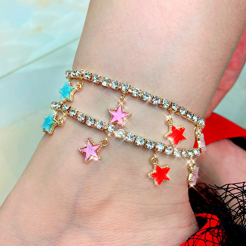 Flatfoosie Fashion Cute Multicolor Stars Anklets Bracelets For Women Shiny Crystal Chain Anklet Boho Summer Beach Foot Jewelry