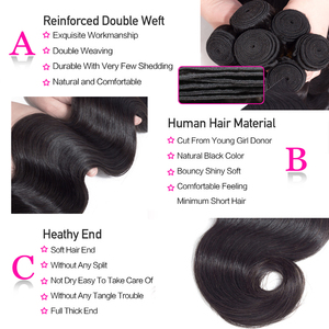 Image 5 - Funky Girl 3/4 bundles with frontal Peruvian Body Wave Human Hair Lace Frontal Closure With Bundles Non Remy Frontal With Bundle