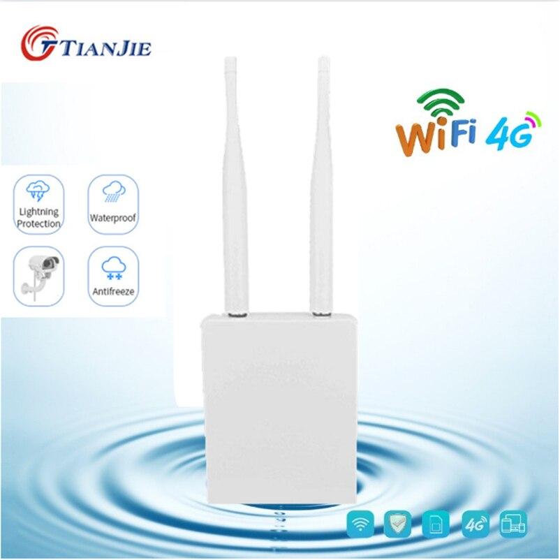 TIANJIE High Speed Outdoor 4G LTE Wireless AP Waterproof Unlock Sim Card Wifi Router Wireless Hotspot CPE RJ45 port Modem Dongle