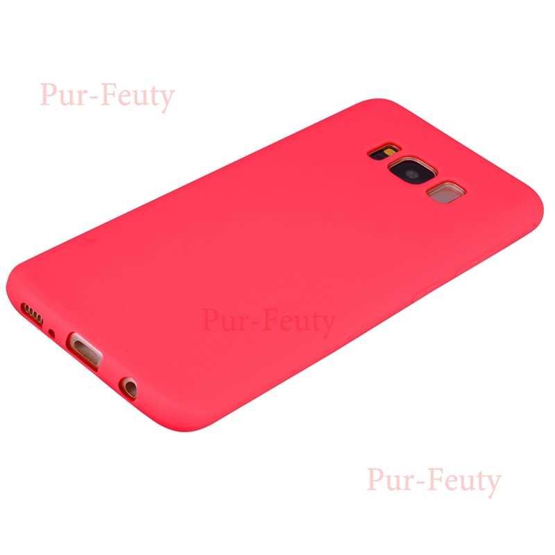 حقيبة لهاتف سامسونج غالاكسي S8 S 8 SM G950 G950FD G950F لينة السيليكون TPU الحلوى اللون ضئيلة الهاتف الغطاء الخلفي ل Etui سامسونج S8 S 8