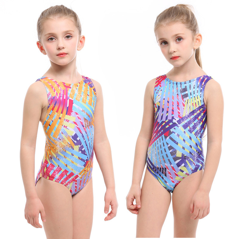 KID'S Swimwear GIRL'S Baby Cute One-piece Swimwear Big Virgin Girls Triangular One-piece Swimming Suit Swimming Training