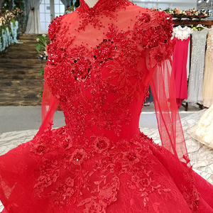 Image 5 - LS0993 red high neck brides wedding party dresses long tulle sleeve lace up back beauty cheap evening dress real price as photos