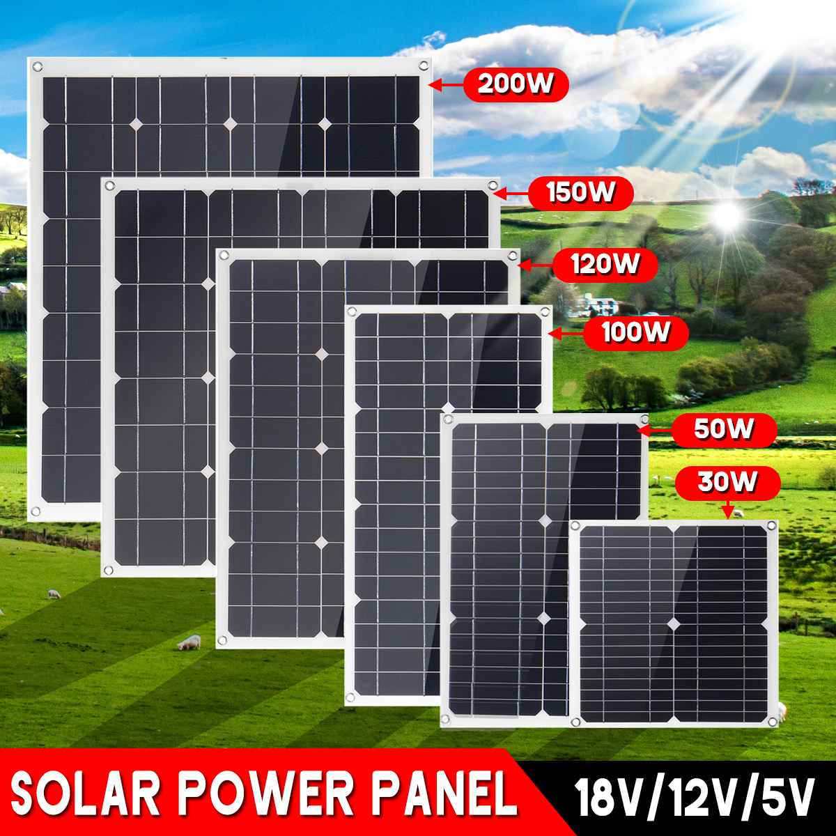 30W/50W/100W/120W/150W/200W Mono Solar Panel 18V DC Dual USB 12V/5V Flexible Solar Charger For Car RV Boat Battery Charge