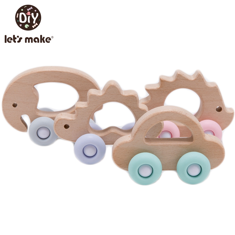 Faisons en bois bébé jouets 0 12 mois 1PC jouets pour bébés hêtre voiture hérisson éléphant éducatif nourrissons développement nouveau-né