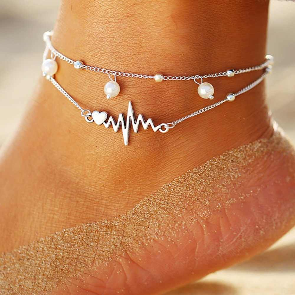 2020 ECG Pearl Anklet Ankle Bracelet Jewelry Barefoot Sandals Beads Leg Chaine on Foot Anklets for Women Jewelry