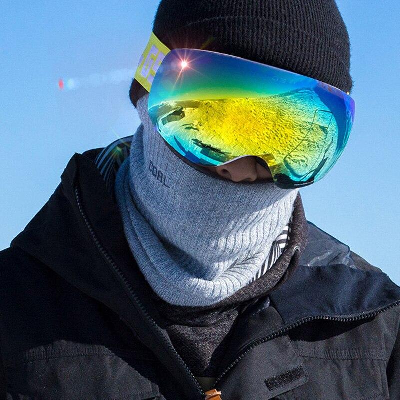 Gsou lunettes de Ski de neige pour hommes et femmes super sphérique double couche anti-buée lunettes