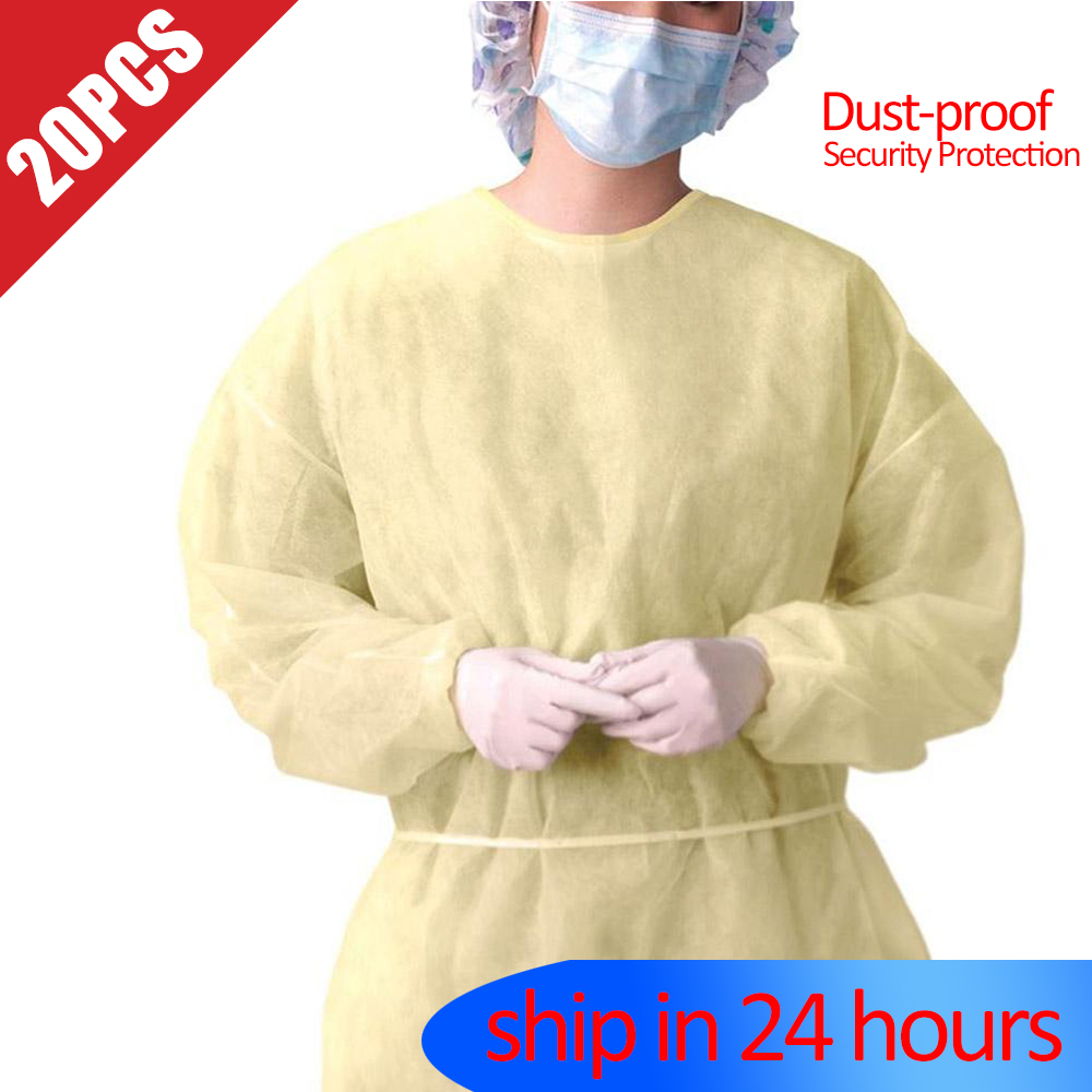 20pcs disposable Protection Suit PP non-woven surgical protective isolation gown blouse Safe and effective protective clothing