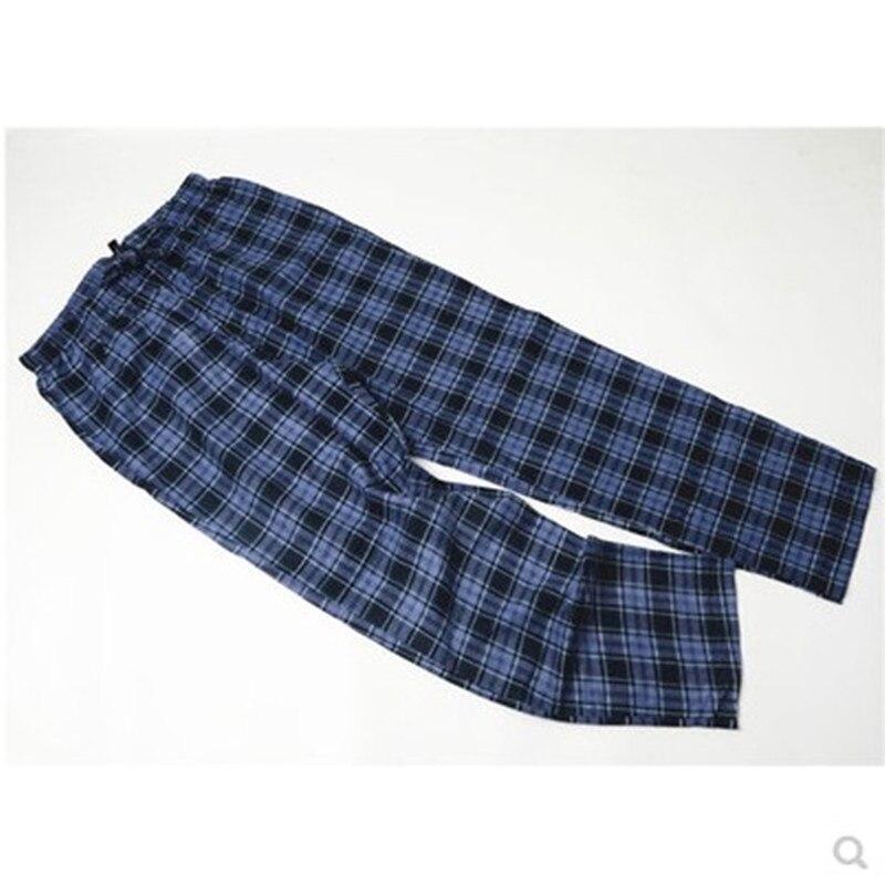 Мужские длинные хлопковые Фланелевые брюки в клетку - Цвет: Синий
