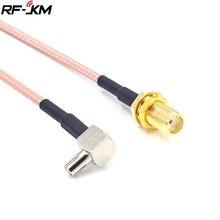 Sma fêmea jack para ts9 macho ângulo direito rg316 trança rf cabo coaxial 15cm para huawei modem cabo sma