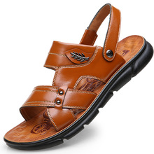 Men's Casual Shoes Fashion Sandals Summer Men Slippers Leather Shoes Breathable Outdoor Beach Slippers Flip-Flops Zapatos Sapato sandals men 2020 summer beach shoes leather outdoor indoor breathable casual slippers men flat shoes fashion black flip flops