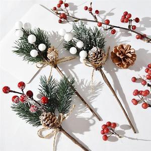 Flor artificial red pearl stamen falso neve geada ramo de pinho decoração de natal diy ramo de pinho artificial casa decoração floral