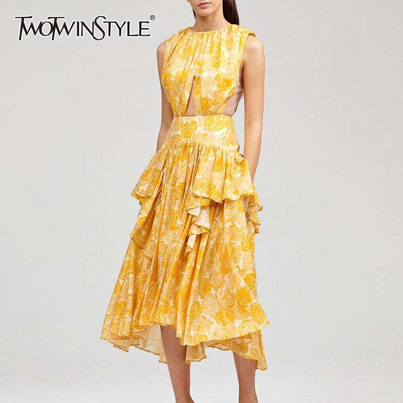 TWOTWINSTYLE Elegant Print Dress Women O Neck Sleeveless High Waist Hollow Out Ruffles Irregular Hem Dresses Female Fashion Tide