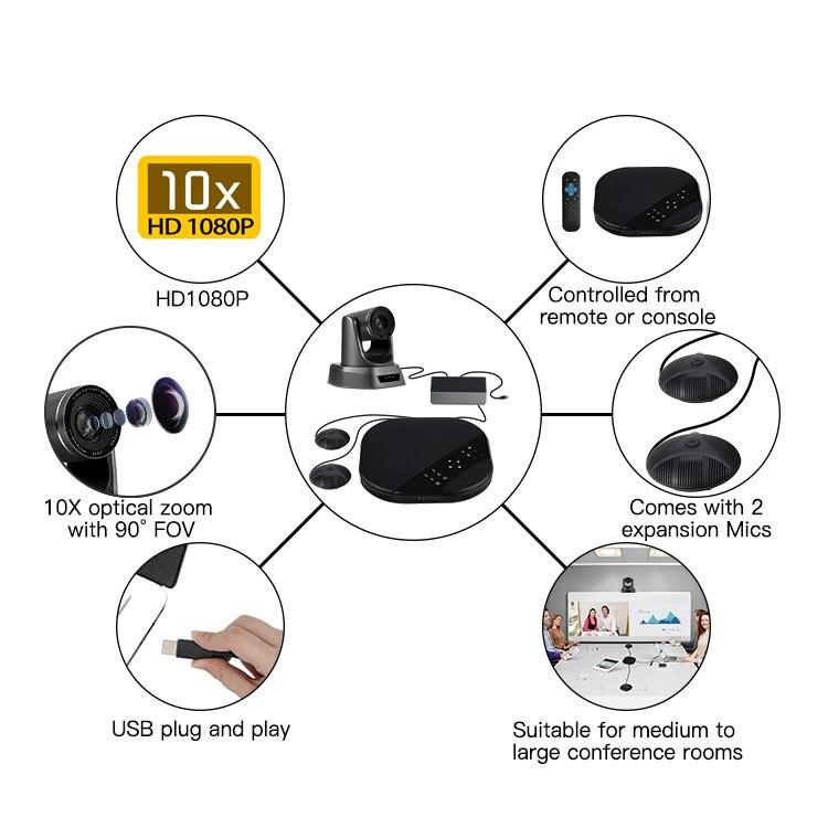 Tenveo va3000e 2mp 10x zoom solução de vídeo conferência de áudio sistema de videoconferência grupo speakerphone e hub para transmissão-1
