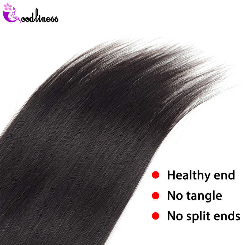 "Goodliness Cambodian Straight Hair Weave 3 Bundles Deal Remy Hair Extensions Natural Black Color 8""-28""100% Human Hair Weaving"
