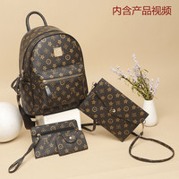 4Pcs/set Mini Women's Backpack Anti theft New Fashion Printing PU Leather Color Backpack Shoulder Bag Multi Function Travel Bags