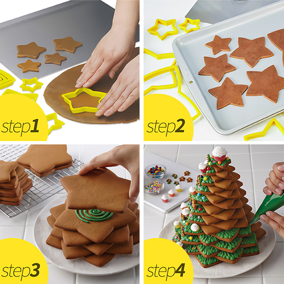 Transhome-Christmas-Cookie-Cutters-6Pcs-Set-3D-Plastic-Five-pointed-Star-Biscuit-Mold-DIY-Baking-Tools (1)