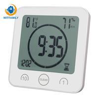 Modern Waterproof Shower Clock Digital Bathroom Clocks LCD Timer Temp Shower Watches Wall Clock Home Decoration Accessories