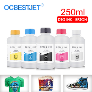 Image 1 - Tinta textil DTG de 250 ML/Set, para Epson DX5 DX7 R330 1390 1400 R1900 R2000 F2000 F2100 (BK C M Y pretratamiento blanco)