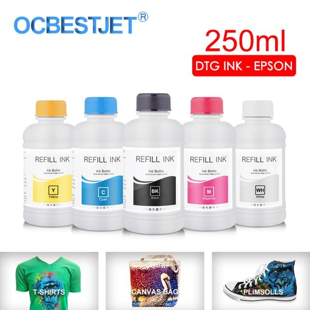 Tinta textil DTG de 250 ML/Set, para Epson DX5 DX7 R330 1390 1400 R1900 R2000 F2000 F2100 (BK C M Y pretratamiento blanco)