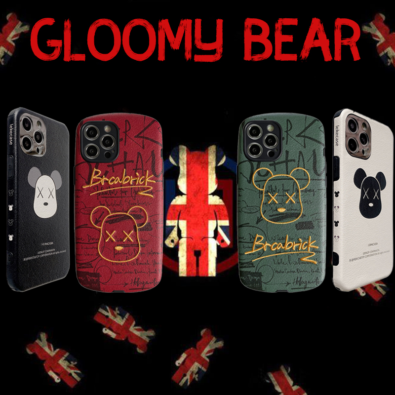 Gloomy Bear Case For iPhone 11 12 Pro Max Mini 7 8 Plus XR X XS MAX Fashion Leather Trend Creative Minimalism INS Cover