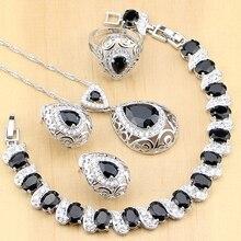 925 ayar gümüş takı siyah taş beyaz CZ takı setleri kadınlar için küpe kolye yüzük bilezik kolye seti