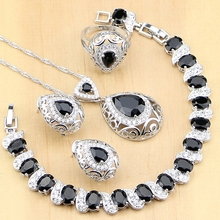 925 bijoux en argent Sterling pierre noire blanc CZ ensembles de bijoux pour les femmes boucles doreilles pendentif anneaux Bracelet collier ensemble