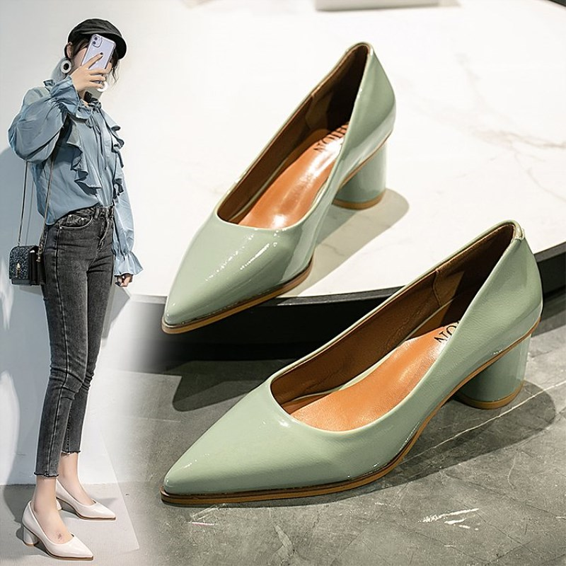 EOEODOIT 2020 Spring New Leather Pumps Shoes 5 CM Square Heel Pointed Toe Women Office Lady Work Pumps Mid Heel Slip On Stylish