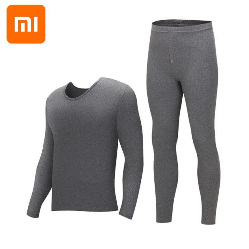 Xiaomi Thermische unterwäsche männer rundhals baumwolle hosen pullover bodenbildung thermische unterwäsche set winter