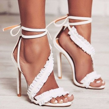 ASHIOFU Handmade Ladies High Heel Sandals Sexy Club Party Prom Summer Shoes Lace-up Ankle-strap Evening Fashion Sandals Shoes