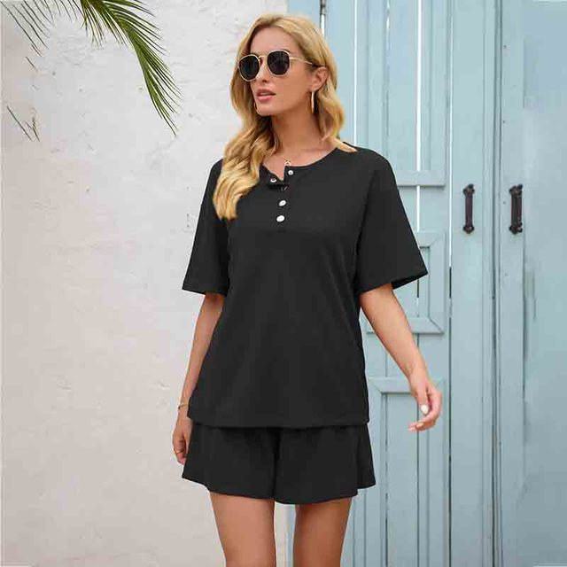 Summer Women's Suit Two Pieces Tracksuit Short Sleeve Sports Suits Women 2021 Casual Tracksuits Elastic Waist Lady Set 3