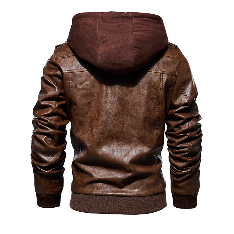 Mens Hooded Leather Jacket 1