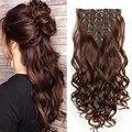 Lisihair 22 дюйма длинные прямые волосы, волнистые волосы для наращивания 7 шт./компл., 16 клипс, высоких температур синтетический парик, заколки, з...