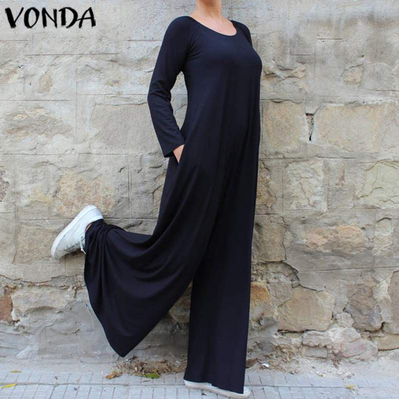 VONDA Wide Leg Pants Women Bohemian Solid Playsuits Long Sleeve Plus Size Oversall Casual Loose Rompers Womens Jumpsuits S-5XL