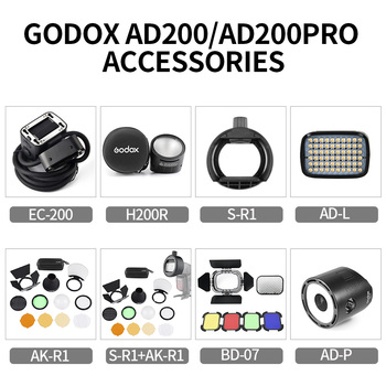 Godox S-R1 AK-R1 BD-07 H200R EC-200 AD-P AD-L Flash Speedlight Adapter,Barn Door,Snoot,Color Filter Reflector For AD200 PRO image