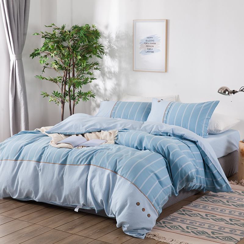 DOHIA Solid Color Button Simple 100% Cotton Bedding Spring And Summer Bedding Yarn Dyed Washed Cotton Four-piece Set Wholesale