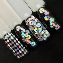 1 бутылка лазерного серебряного блеска для ногтей, блестки, пыль, смешанные ромбовидные кончики, сделай сам, очаровательные лаковые хлопья, украшения, маникюрные SALS01-16
