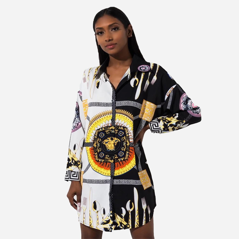 Sexy Vintage Print Blouse Women White Black Lapel Button Long Sleeve Plus Size Womens Tops And Blouses Haut Femme Dropshipping