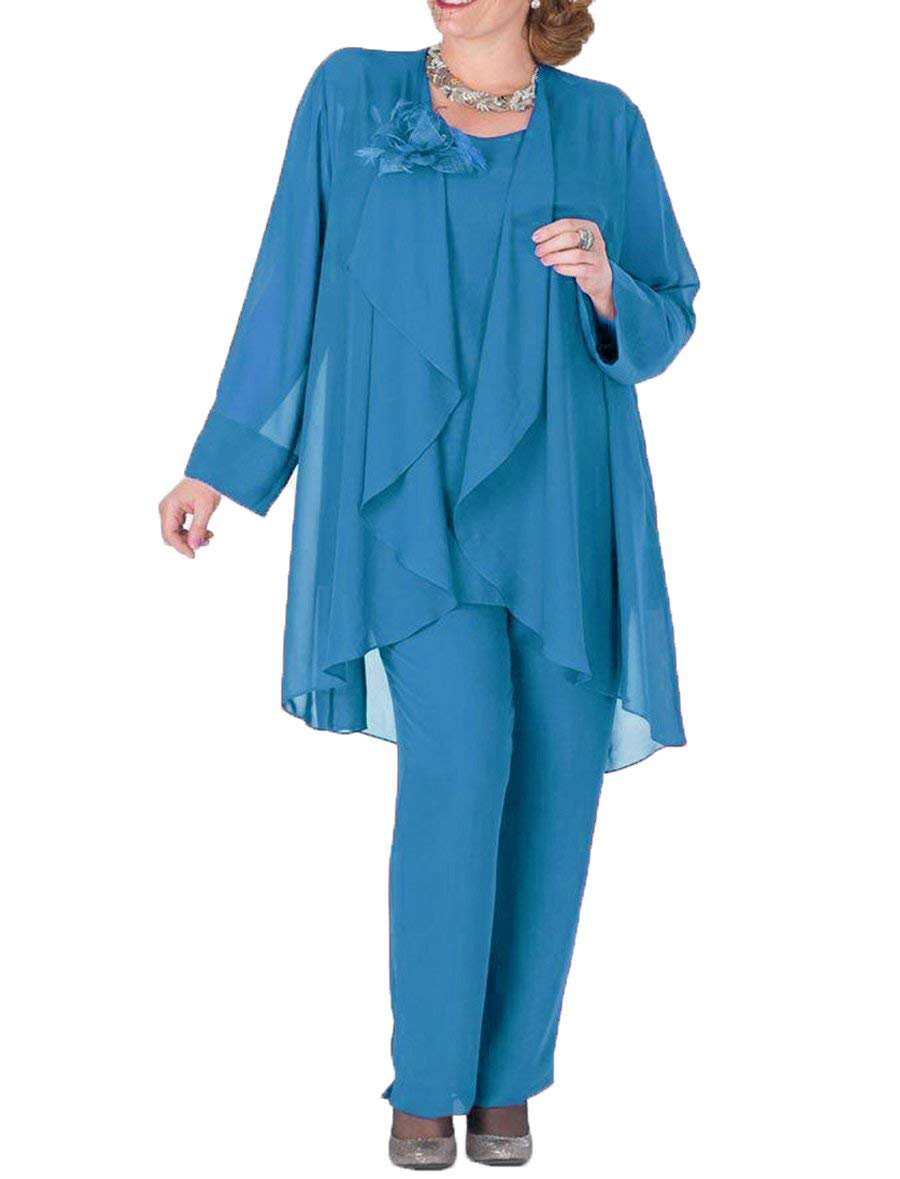 Women Flower Chiffon Royal Blue  Mother Of The Bride Dress Pants Suit 3 Pieces With Jacket Outfit Long Sleeves
