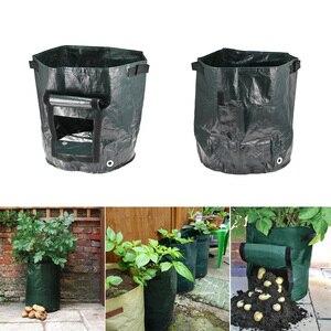 Image 5 - Темно зеленая Цветочная сумка садовый фрукт растение пакеты для картошки клубника мешок Spuds плетеная ткань овощной мешок плантатор