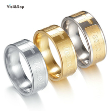 Visisap Christian Jesus JESUS LOVE YOU Rings for Man 8mm 3 Gold Color Cross Stainless Steel Unisex Dropshipping Ring S-R147