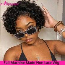 Corte Pixie Peluca de cabello humano rizado pelucas de cabello humano barato cabello humano peluca no Peluca de encaje completa máquina peluca Cheveux Humain