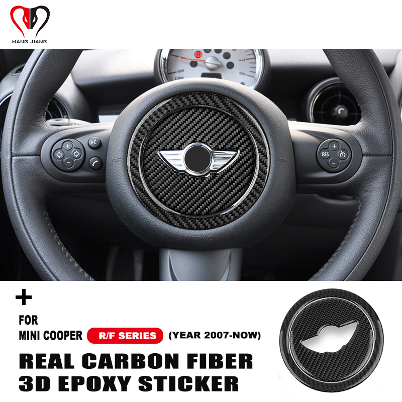 Carbon Fiber Steering Wheel Panel Sticker Epoxy Stickers For Mini Cooper R55 R56 R57 R60 R61 F54 F55 F56 F60 Countryman Clubman