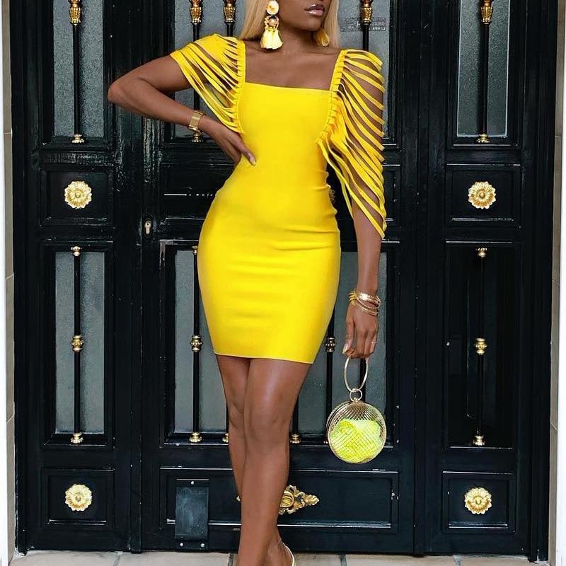 Yellow Tassel Sleeve Dress