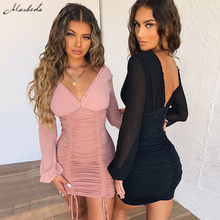 Macheda Solid Sexy Party Dresses Women Mesh Long Sleeve V-Neck Slim Spliced Drawstring Ruched Bodycon Elastic Lady Casual Dress(China)