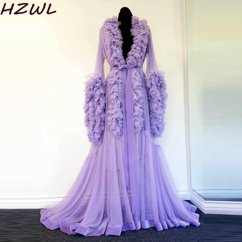 Ночной халат фиолетовое платье для беременных для фотосессии или Babyshower Многоуровневое платье с рюшами для беременных женщин платье для выпускного вечера вечерние платья